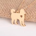gold husky necklace