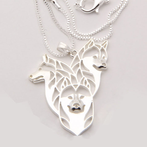 three huskies necklace